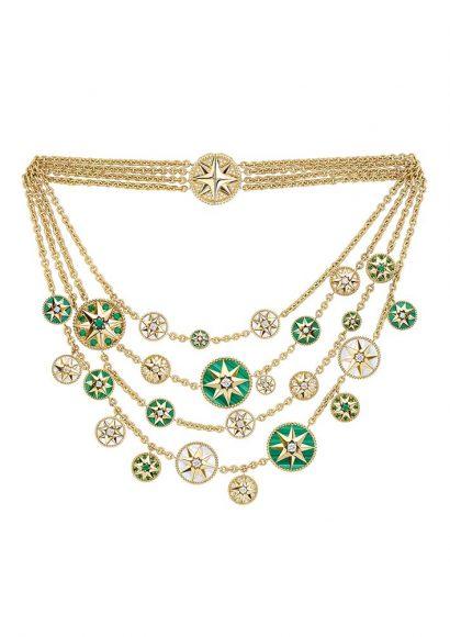Dior Plastron Masterpiece Rose des Vents En or jaune, diamants, émeraudes, malachite et nacre