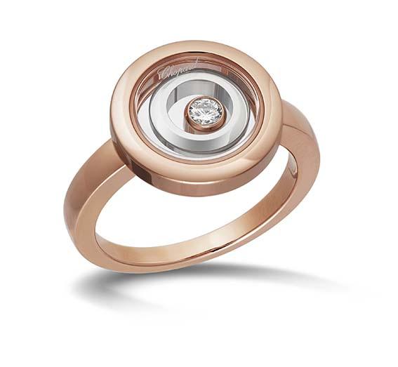 Chopard Bague Happy Spirit En or éthique rose et blanc 18 carats munis d'un diamant mobile.