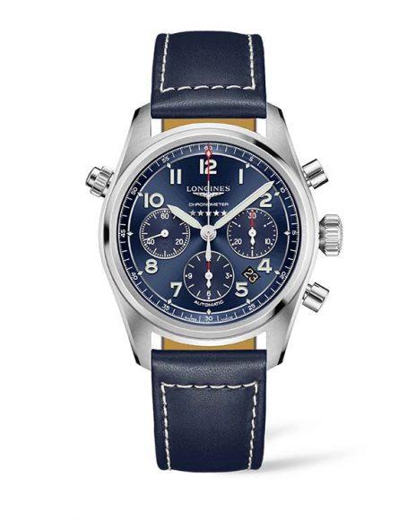 Longines Spirit  Dans ce chronographe de la nouvelle collection Spirit Longines marie à la fois les codes et les performances des montres d'aviateur avec  les tendances stylistiques et technologiques contemporaines.