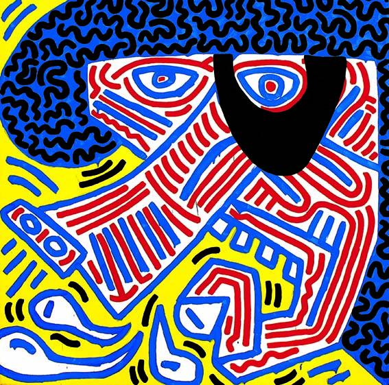 Sneeze de Keith Haring Sneeze est un chef-d'œuvre coloré plein de vie, bien connu des collectionneurs. Il incarne parfaitement le style unique de Keith Haring. Prix sur demande