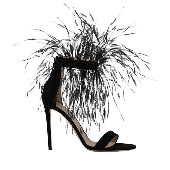 Sandales Collection Printemps Eté 2021 En daim noir avec plumes