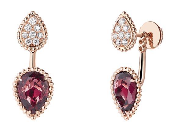 Puce d'Oreille motifs XS & S En or rose, serti de rhodolite et  pavé de diamants.