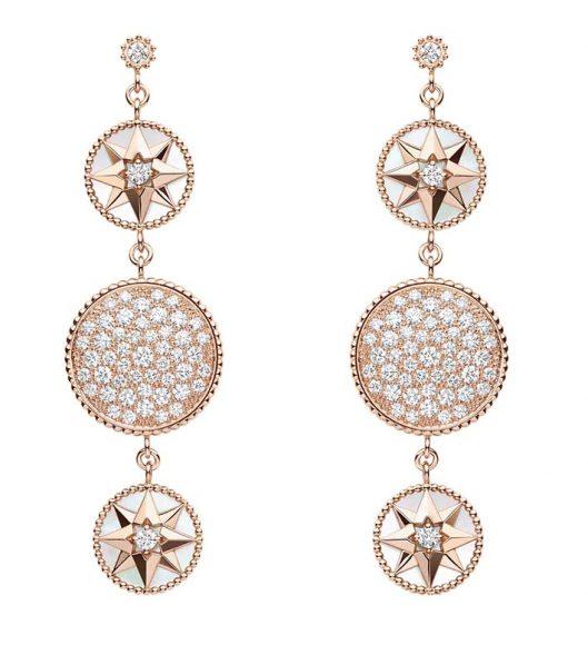Boucles d'Oreilles Rose des Vents En or rose, diamants, et nacre
